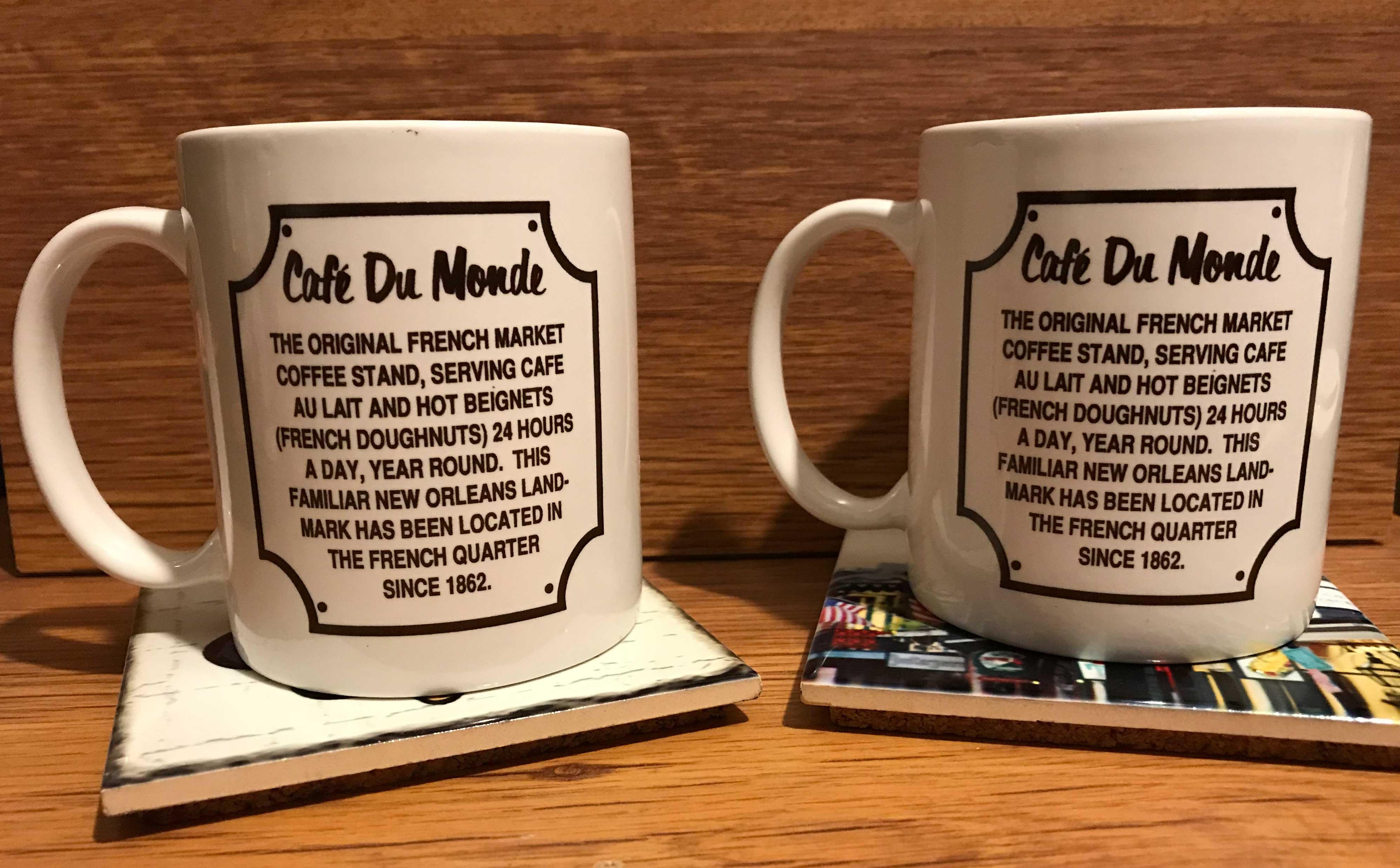 Back Coaster Set Tile Mug Cafe Du Of Monde Coffee Cork Orleans And 2 New XTuOZwkliP